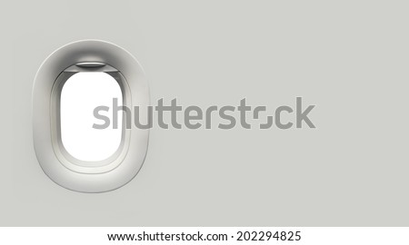 Airplane window and place for text - stock photo