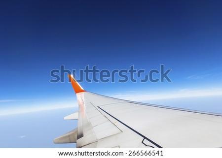 Airplane window view - stock photo
