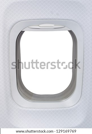 Airplane window. View has been removed and replaced with white - stock photo