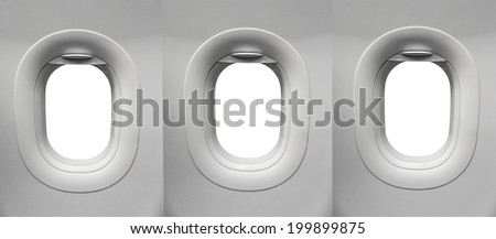 Airplane window White Background - stock photo