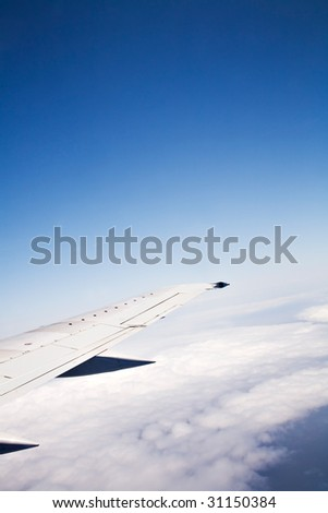 Airplane wing - stock photo