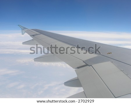 Airplane wing, blue sky and white clouds