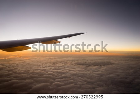 Airplane Wing in Flight from window
