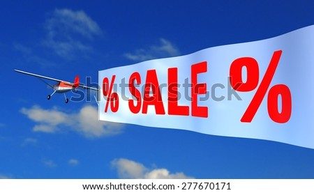 """airplane with banner """"sale"""" - stock photo"""