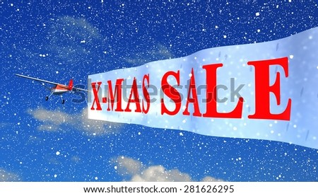 """airplane with banner """"x-mas sale"""" - stock photo"""