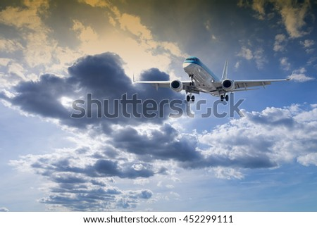 Airplane with beautiful sky.