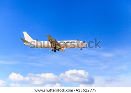 Airplane with blue sky and clouds background