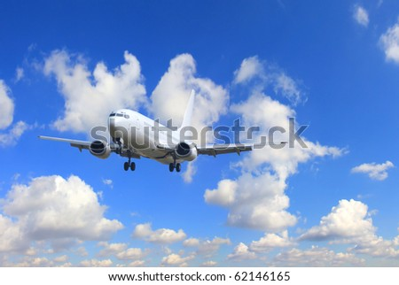 Airplane with perfect sky background