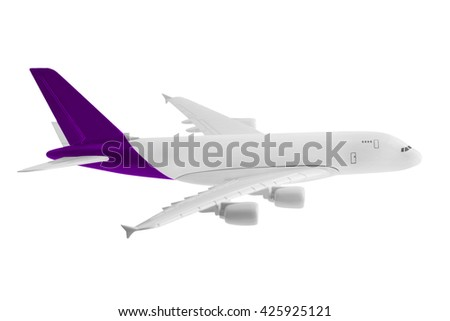 Airplane with Purple color, Isolated on white background.
