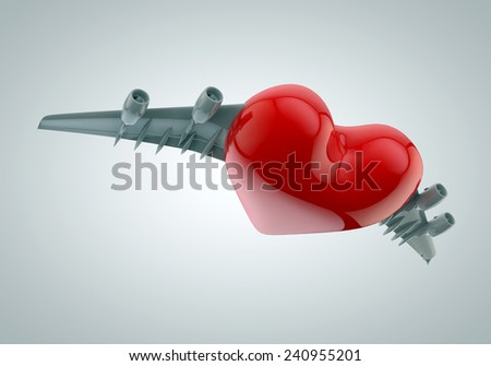 Airplane with Red Love Heart Shaped Body - stock photo