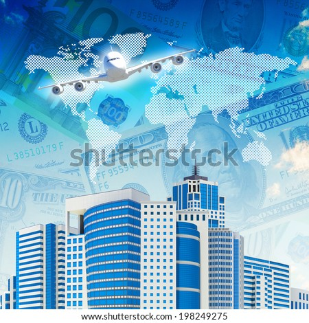 Airplane with the background of skyscrapers and money. Concept growth in business - stock photo