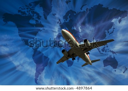 airplane with world map - transport concept - stock photo
