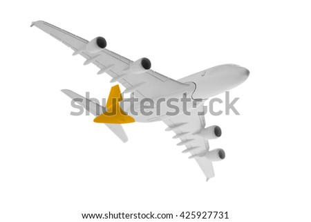 Airplane with yellow color, Isolated on white background.