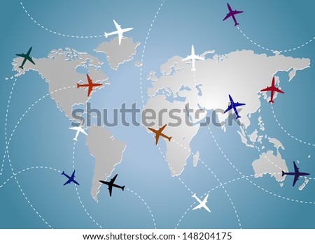 Airplanes and map blue - stock photo
