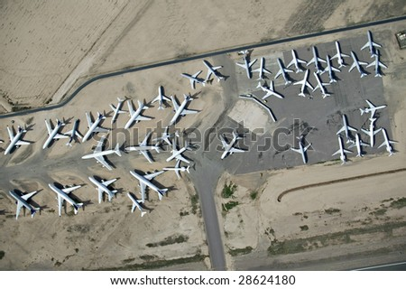 Airplanes parked for storage - stock photo