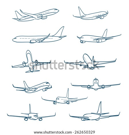 airplanes sketches. raster version - stock photo
