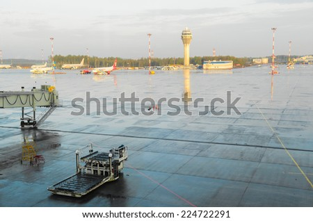 airplanes standing on airport field - stock photo