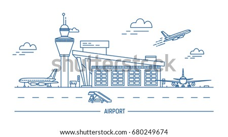 Airport aircraft lineart black white illustration stock illustration airport aircraft lineart black and white illustration with air terminal and airplanes ccuart Images
