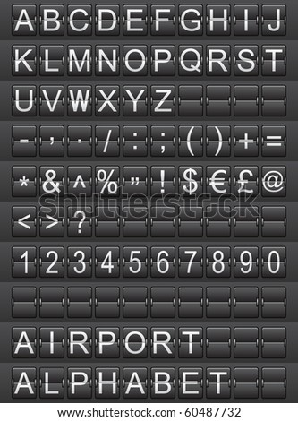 airport alphabet (raster version) - stock photo