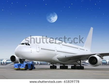 airport and plane in the bright of the moon - stock photo