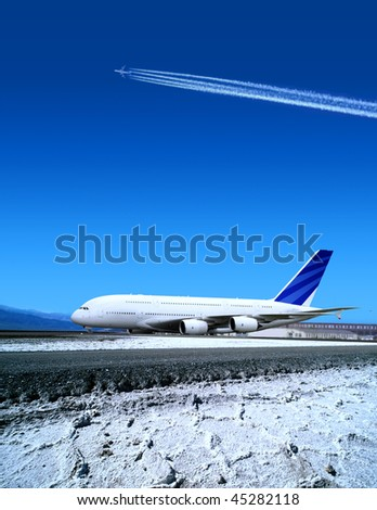 airport and the big plane in winter time - stock photo
