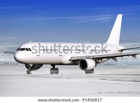 airport and white plane at winter weather - stock photo