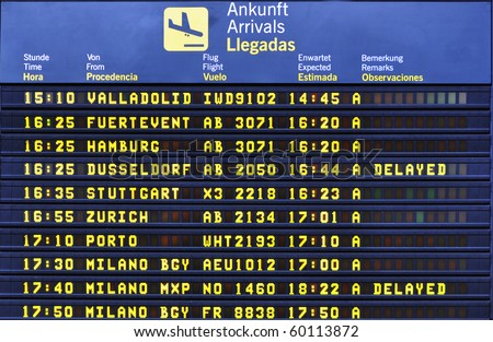 Airport arrival board - stock photo