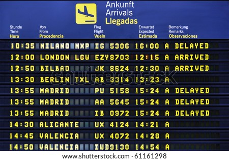 Airport arrival board