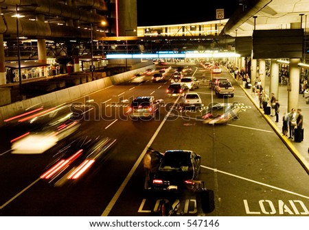 Airport arrival terminal - stock photo