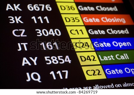 Airport Arrivals, Departure Board (selective focus) - stock photo