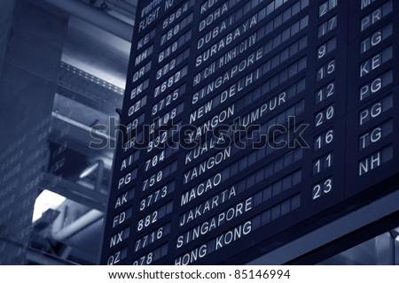 Airport Arrivals, Departure Board (selective focus) - stock photo
