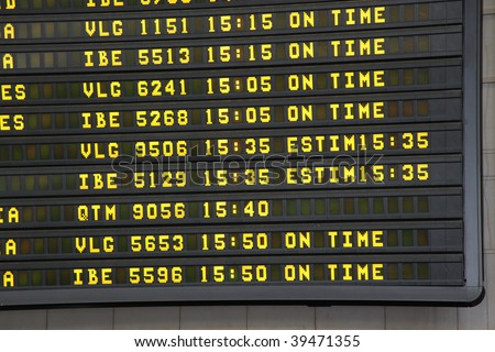 airport arrivals display - stock photo