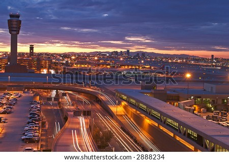 Airport at sunset - stock photo