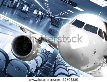 Airport background - stock photo