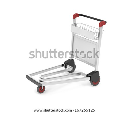 Airport baggage trolley on white background - stock photo