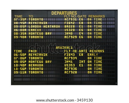 Airport board showing departures and arrivals to various cities isolated on white - stock photo