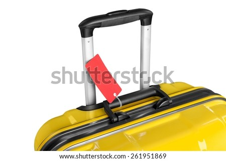 Airport. Bright suitcase with handle and label economy. Luggage at airport. Modern and elegant bag for travel. Object on white background. Tag with information on baggage. Bag for tourism and vacation - stock photo
