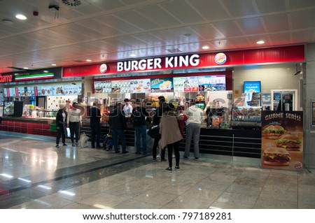 Airport Burgerking shop in the waiting area. Sabiha Gokcen Airport. Pendik. Istanbul. Turkey. December 2017.
