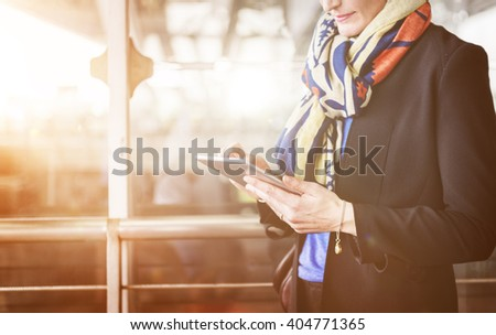 Airport Business Travel Terminal Businesswoman Concept - stock photo