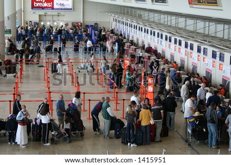 Airport Check-in Queue. - stock photo