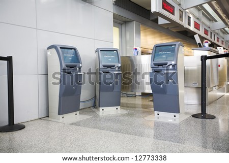 Airport check in terminals - stock photo