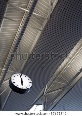 Airport clock - stock photo
