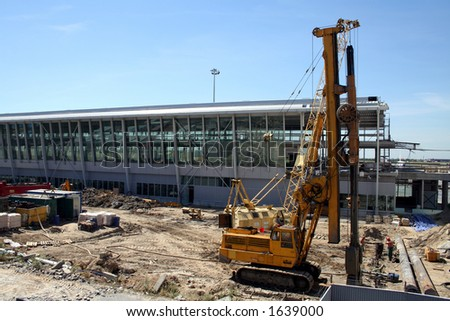 Airport construction #1 - Terminal 2 construction at Warsaw's Chopin airport - stock photo