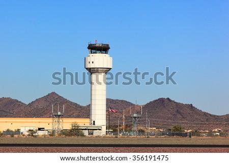 Airport Control Tower at Deer Valley in Phoenix, Arizona - stock photo