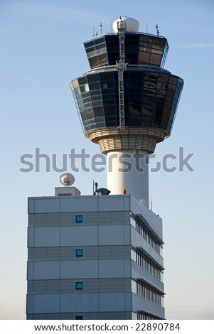 airport control tower in athens - stock photo