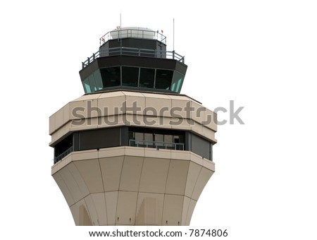 Airport control tower - isolated - stock photo