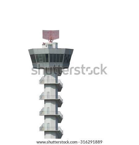 Airport control tower isolated on white background with clipping path - stock photo