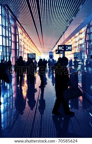 AIRPORT CROWD - stock photo