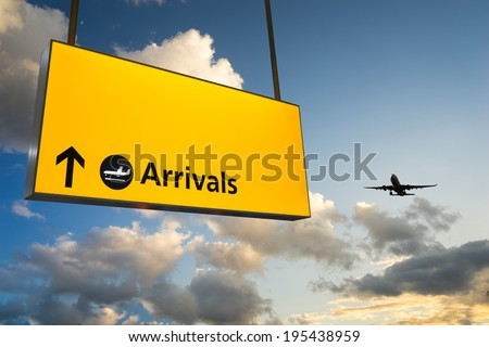 Airport Departure & Arrival information sign  - stock photo