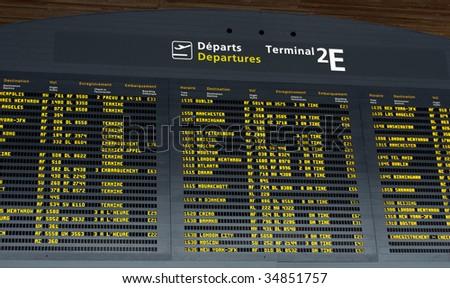 Airport Departure Board - stock photo